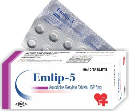 Thuốc Emlip 5mg Amlodipine điều trị tăng huyết áp và thiếu máu cơ tim kèm đau thắt ngực ổn định