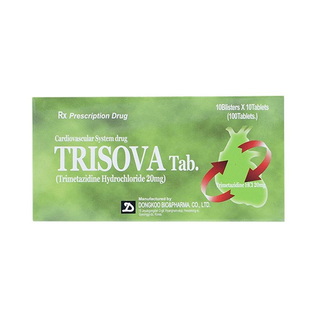Thuốc Trisova Tab 20mg Trimetazidin Hydroclorid phòng cơn đau thắt ngực