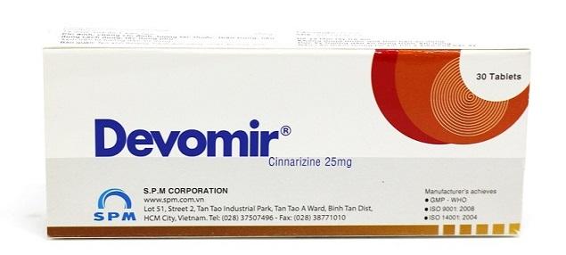 Thuốc Devomir 25mg Cinarizin điều trị các triệu chứng rối loạn tiền đình, phòng ngừa chứng say tàu xe