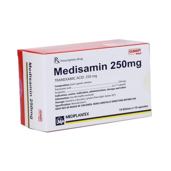 Thuốc Medisamin 250mg Acid tranexamic điều trị và phòng ngừa chảy máu kết hợp với tiêu fibrin quá mức