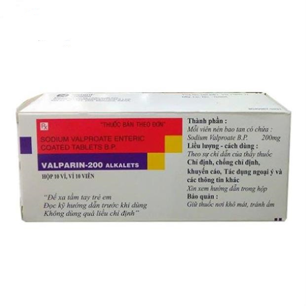 Thuốc Valparin-200 Alkalets 200mg Sodium Valproate chữa trị các cơn động kinh