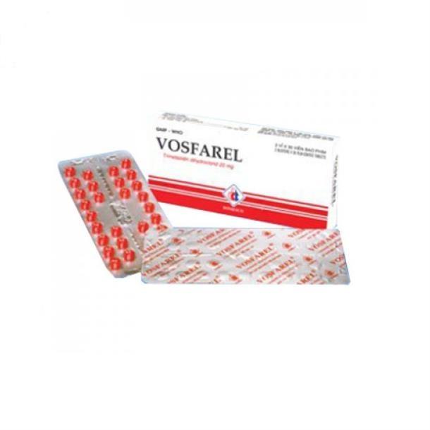 Thuốc Vosfarel-Domesco 20mg Trimetazidin hydroclorid điều trị dự phòng cơn đau thắt ngực, chứng chóng mặt, ù tai