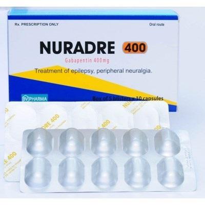 Thuốc Nuradre 400 400mg Gabapentin chữa trị chứng đau thần kinh, động kinh