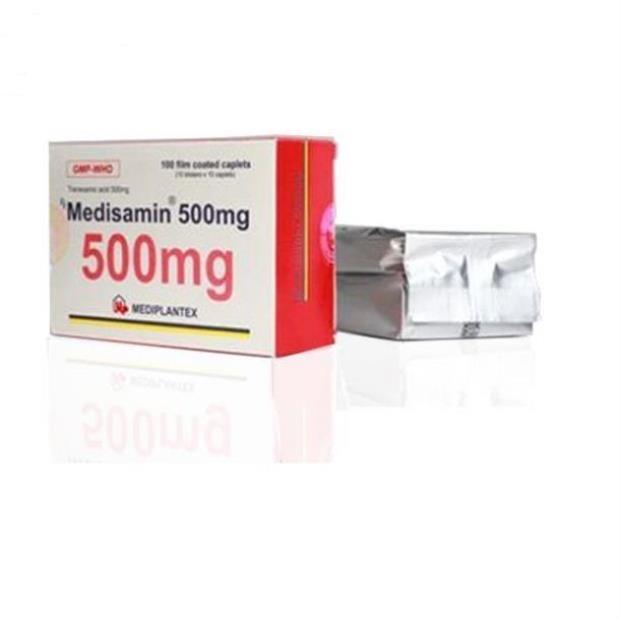 Thuốc Medisamin 500mg Acid tranexamic điều trị và phòng ngừa chảy máu kết hợp với tiêu fibrin quá mức
