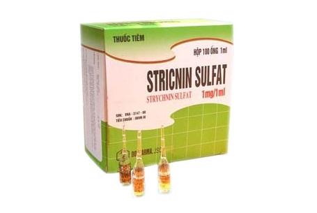 Thuốc Strychnin sulfat 1 mg/1 ml thuốc bổ có tác dụng điều trị chứng nhược cơ, mệt mỏi, suy nhược, ăn không ngon