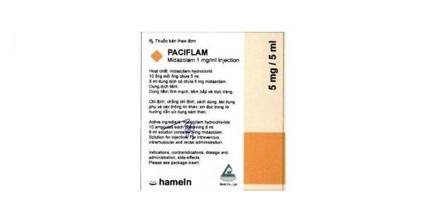 Thuốc Paciflam 5mg/5ml Midazolam tiền mê, dẫn mê, duy trì mê