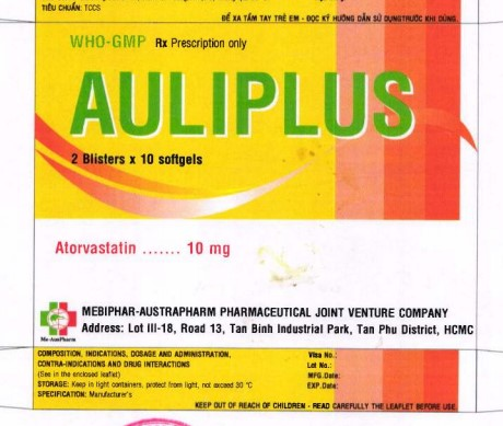 Thuốc Auliplus 10mg Atorvastatin giảm cholesterol toàn phần