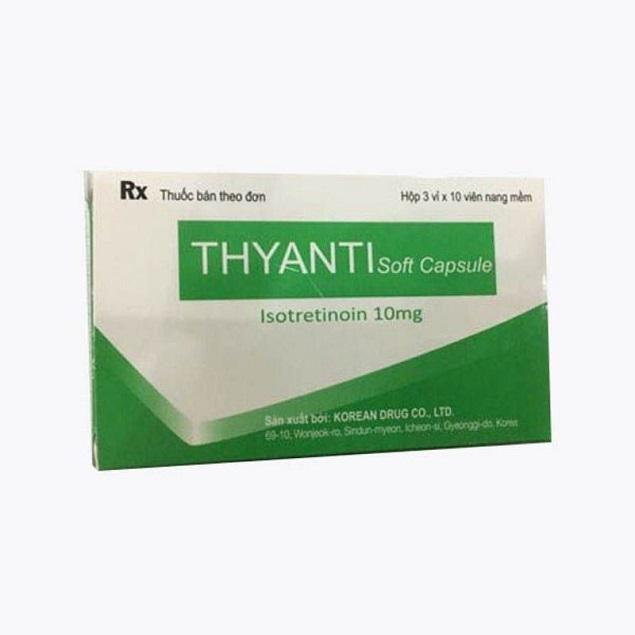 Thuốc Thyanti Soft Capsule 10mg Isotretinoin điều trị các dạng mụn trứng cá