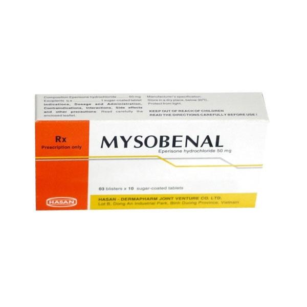 Thuốc Mysobenal 50mg Eperison hydrochlorid giúp hạn chế triệu chứng tăng trương cơ lực