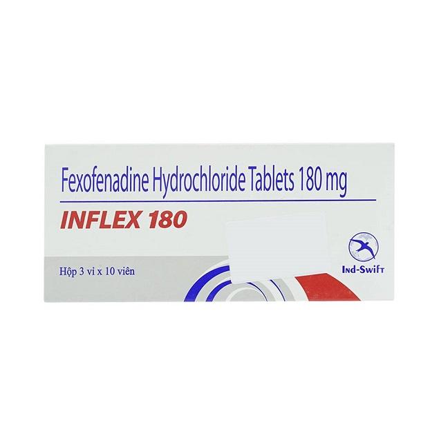 Thuốc Inflex 180 180mg Fexofenadine hydrochloride điều trị các triệu chứng do viêm mũi dị ứng theo mùa