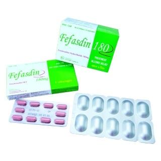 Thuốc Fefasdin 180mg Fexofenadin hydroclorid điều trị các triệu chứng của viêm mũi dị ứng theo mùa