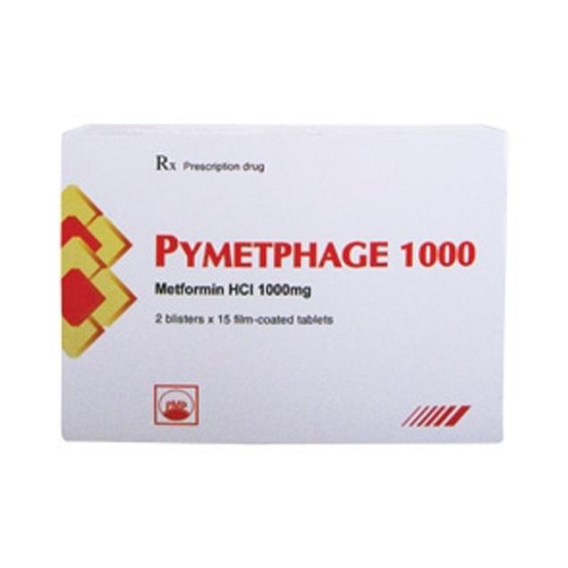Thuốc Pymetphage 1000 1000mg Metformin HCl điều trị đái tháo đường