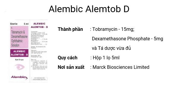 Thuốc Alembic Alemtob D 5mg Tobramycin điều trị tình trạng viêm ở mắt có đáp ứng với Steroid