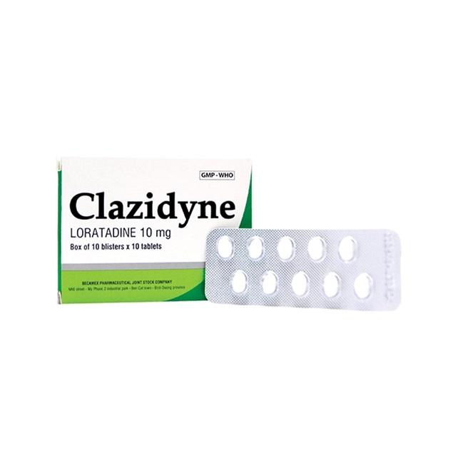 Thuốc Clazidyne 10mg Loratadin điều trị viêm mũi dị ứng theo mùa hay quanh năm