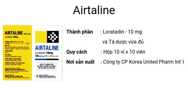 Thuốc Airtaline 10mg Loratadingiảm các triệu chứng viêm mũi dị ứng theo mùa