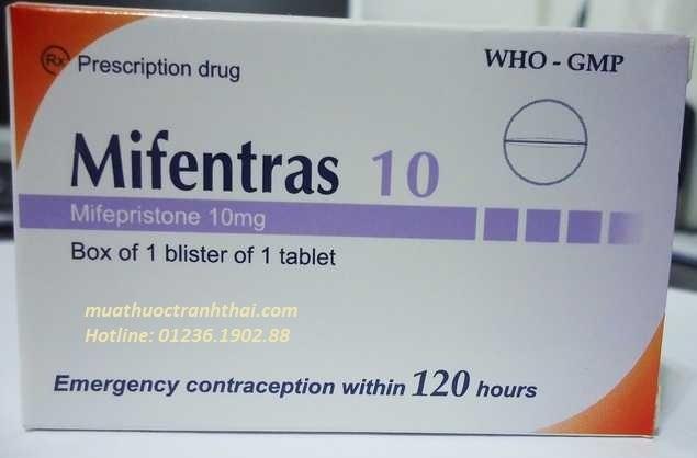 Thuốc Mifentras 10 10mg Mifepriston tránh thai khẩn cấp sau giao hợp không được bảo vệ