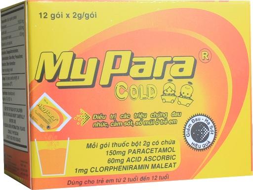 Thuốc Mypara cold điều trị các triệu chứng đau nhức, cảm sốt, số mũi ở trẻ em