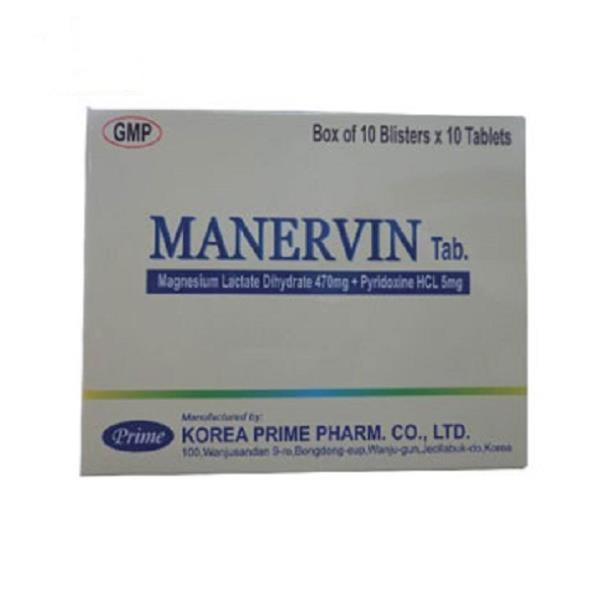 Thuốc Manervin Tablet điều trị các trường hợp thiếu Magnesi