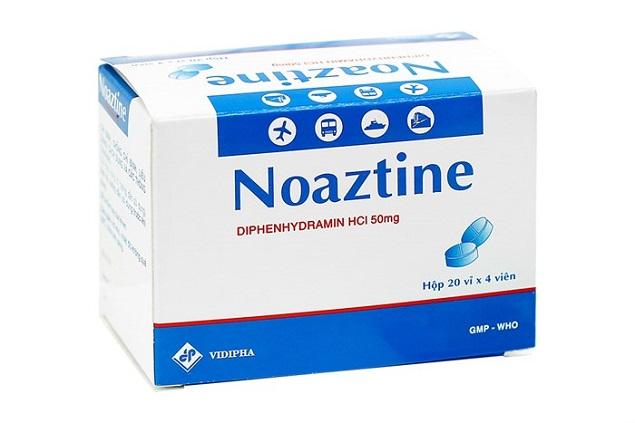 Thuốc Noaztine 50mg Diphenhydramin HCl điều trị các triệu chứng đau nhức do cảm cúm, viêm mũi, viêm xoang