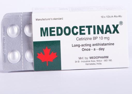 Thuốc Medocetinax 10mg Cetirizin hydrocloridđiều trị dị ứng