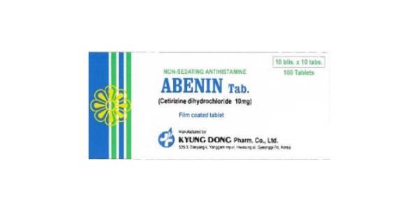Thuốc Abenin Tab 10mg Cetirizine dihydrochloride điều trị triệu chứng của các phản ứng dị ứng
