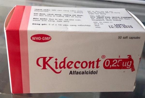 Thuốc Kidecont 0,25mcg Alfacalcidol điều trị loãng xương, nhuyễn xương, còi xương
