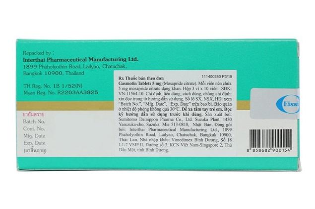 Thuốc Gasmotin tablets 5mg Mosaprid citra điều trị trào ngược dạ dày, thực quản