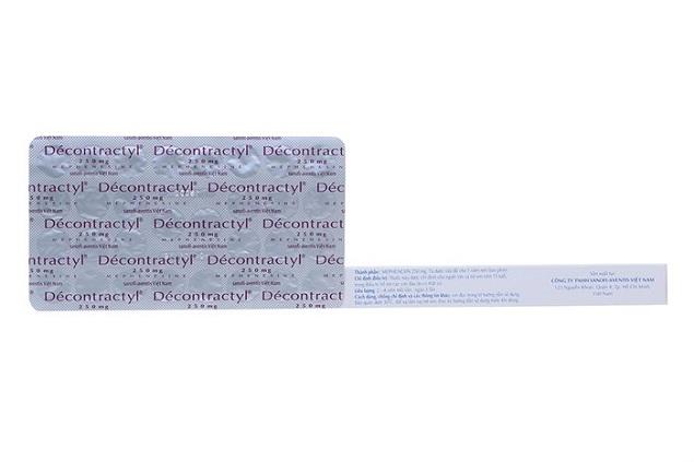 Thuốc Décontractyl 250mg Mephenesin điều trị bệnh thoái hóa cột sống và các rối loạn tư thế cột sống