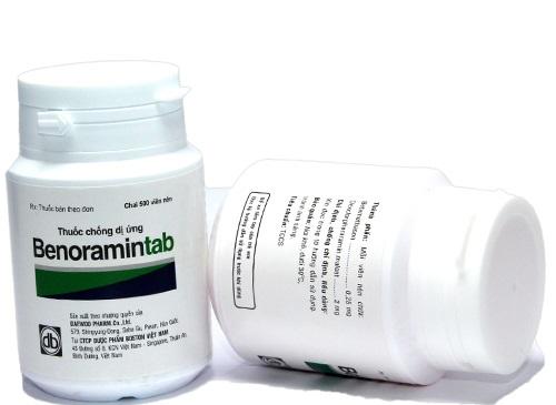 Thuốc Benoramin chữa trị các chứng viêm mũi dị ứng, viêm da tiếp xúc, viêm kết mạc, nổi mề đay