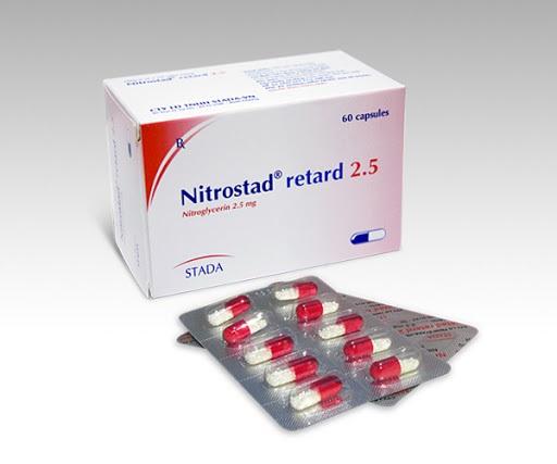 Thuốc Nitrostad Retard 2,5mg Nitroglycerin dự phòng cơn đau thắt ngực