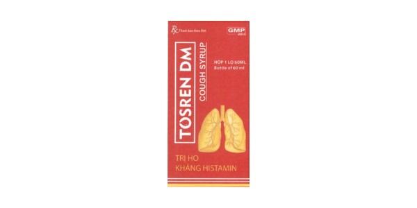 Thuốc Tosren DM điều trị ho và các triệu chứng của đường hô hấp trên