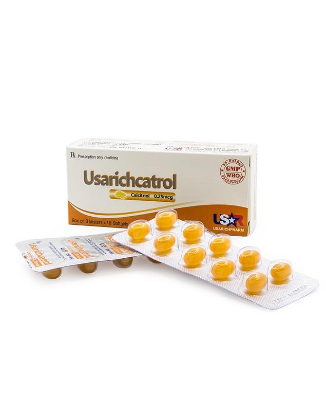 Thuốc Usarichcatrol 0,25mcg Calcitrol phòng các triệu chứng thiếu hụt canxi gây còi xương