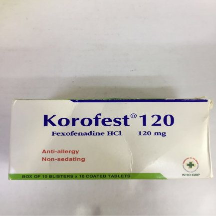 Thuốc Korofest 180mg Fexofenadin hydroclorid điều trị các triệu chứng do viêm mũi dị ứng theo mùa