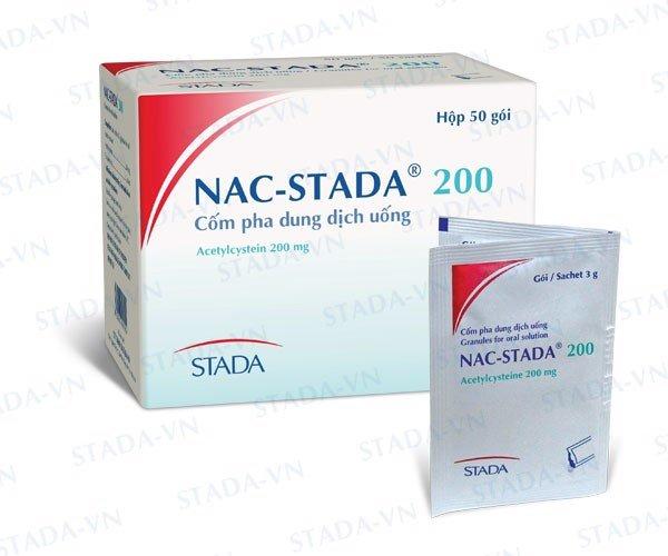 Thuốc Nac stada 200 200mg Acetylcysteine tiêu nhày trong các bệnh phế quản -phổi cấp và mãn tính