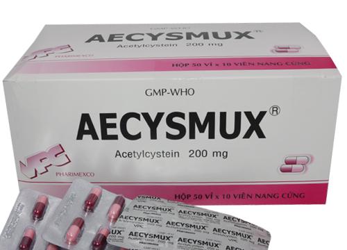 Thuốc Aecysmux 200mg Acetylcystein tiêu nhày trong các bệnh phế quản, phổi cấp và mãn tính