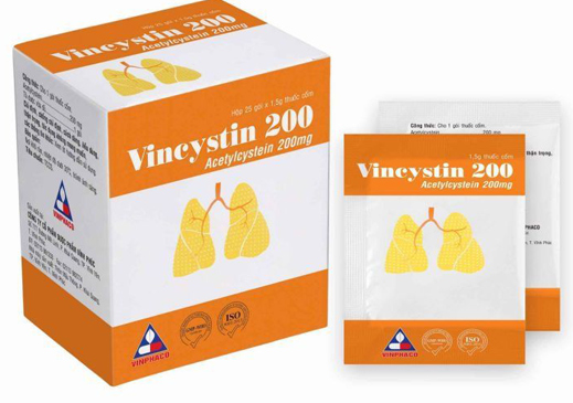 Thuốc Vincystin 200mg Acetylcystein tiêu nhày trong các bệnh phế quản-phổi cấp và mãn tính