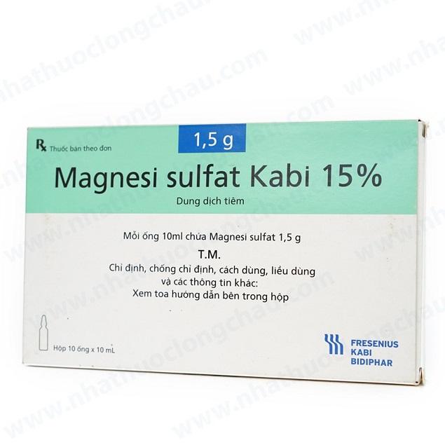 Thuốc Magnesi sulfat 15% chống co giật, bổ sung điện giải, nhuận tràng
