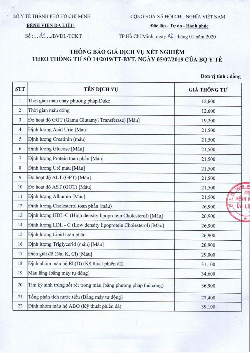 Bảng giá bệnh viện Da Liễu