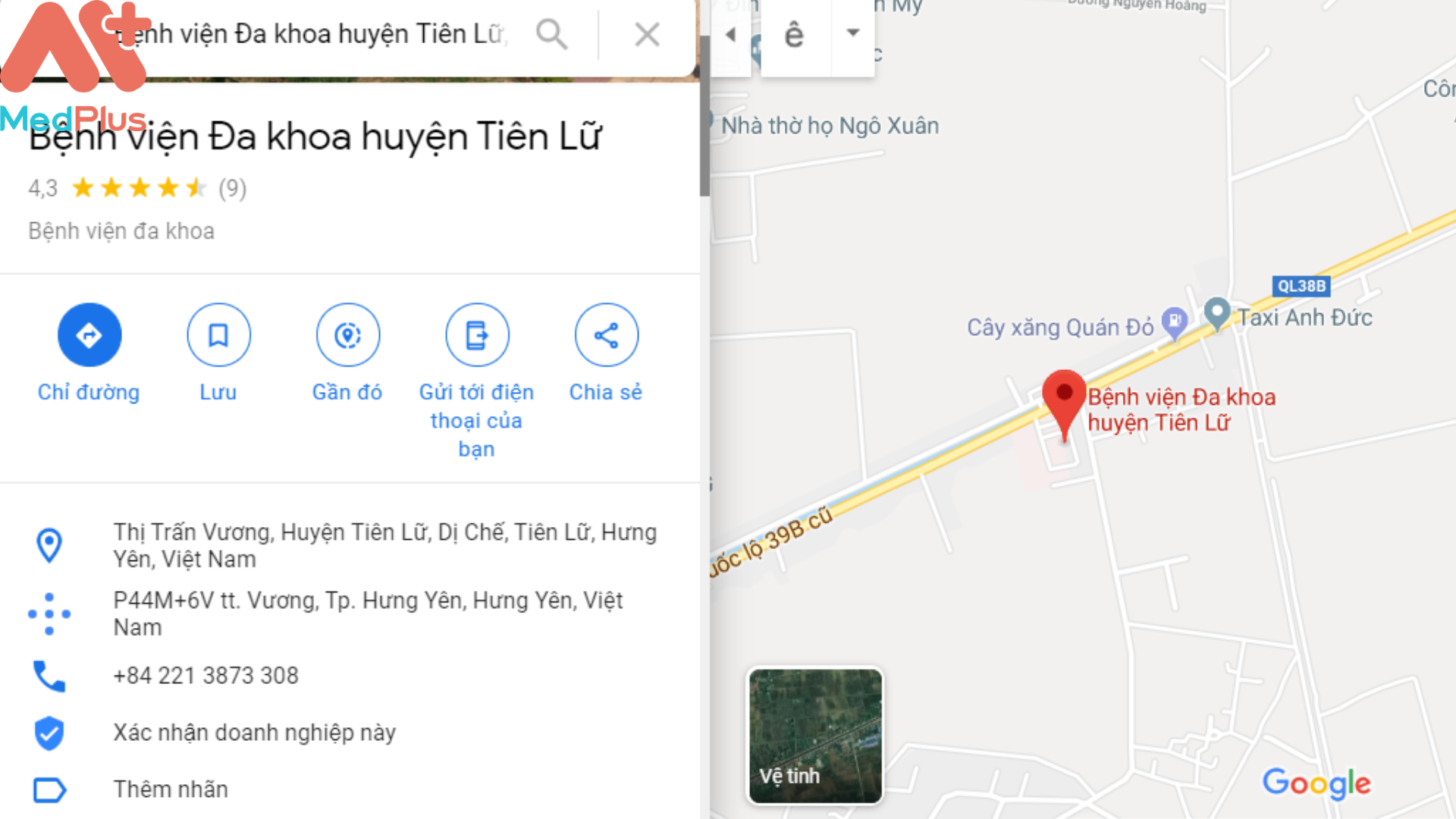 Địa chỉ bệnh viện Tiên Lữ