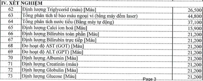 Bảng giá dịch vụ Bệnh viện Tâm thần tỉnh Vĩnh Long