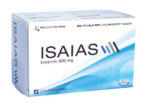 Thuốc Isaias 600mg Diosmin điều trị các triệu chứng và dấu hiệu của suy tĩnh mạch